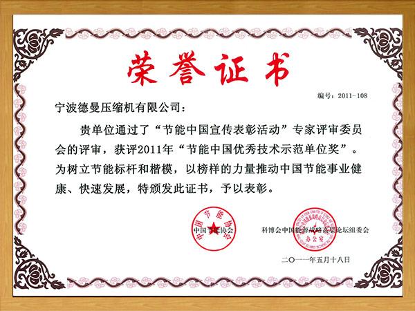 节能中国优秀技术示范单位奖(2011年)